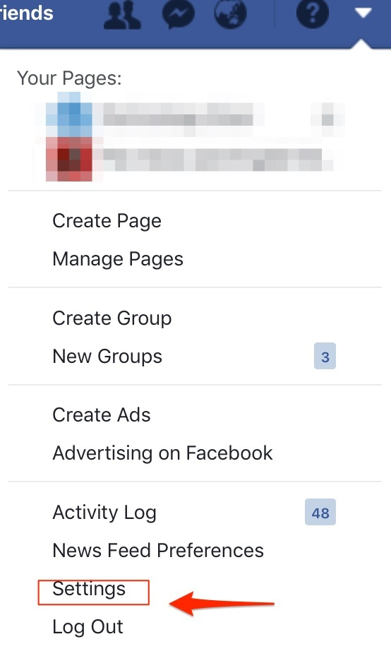 account facebook setting