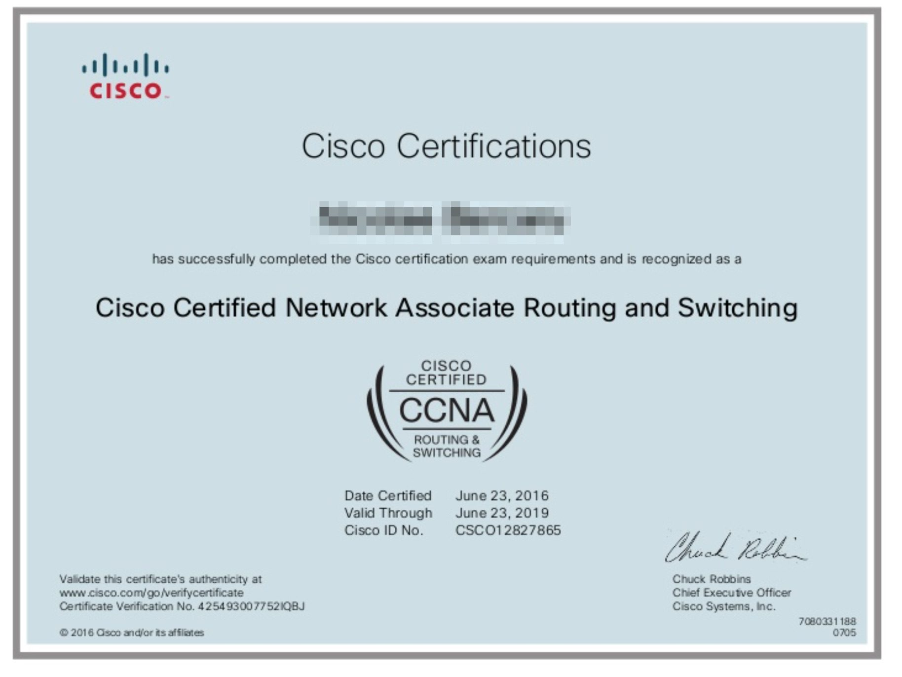 Mẫu chứng chỉ Cisco CCNA Quốc Tế