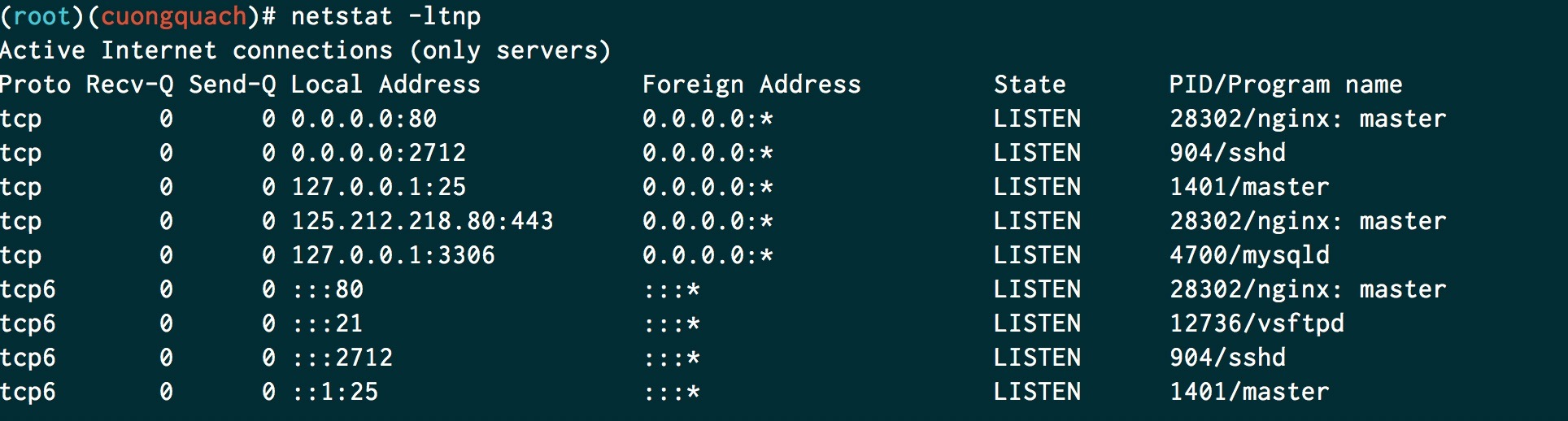 lệnh netstat kiểm tra port tcp mở