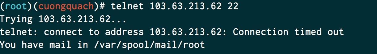 telnet port 22 không mở