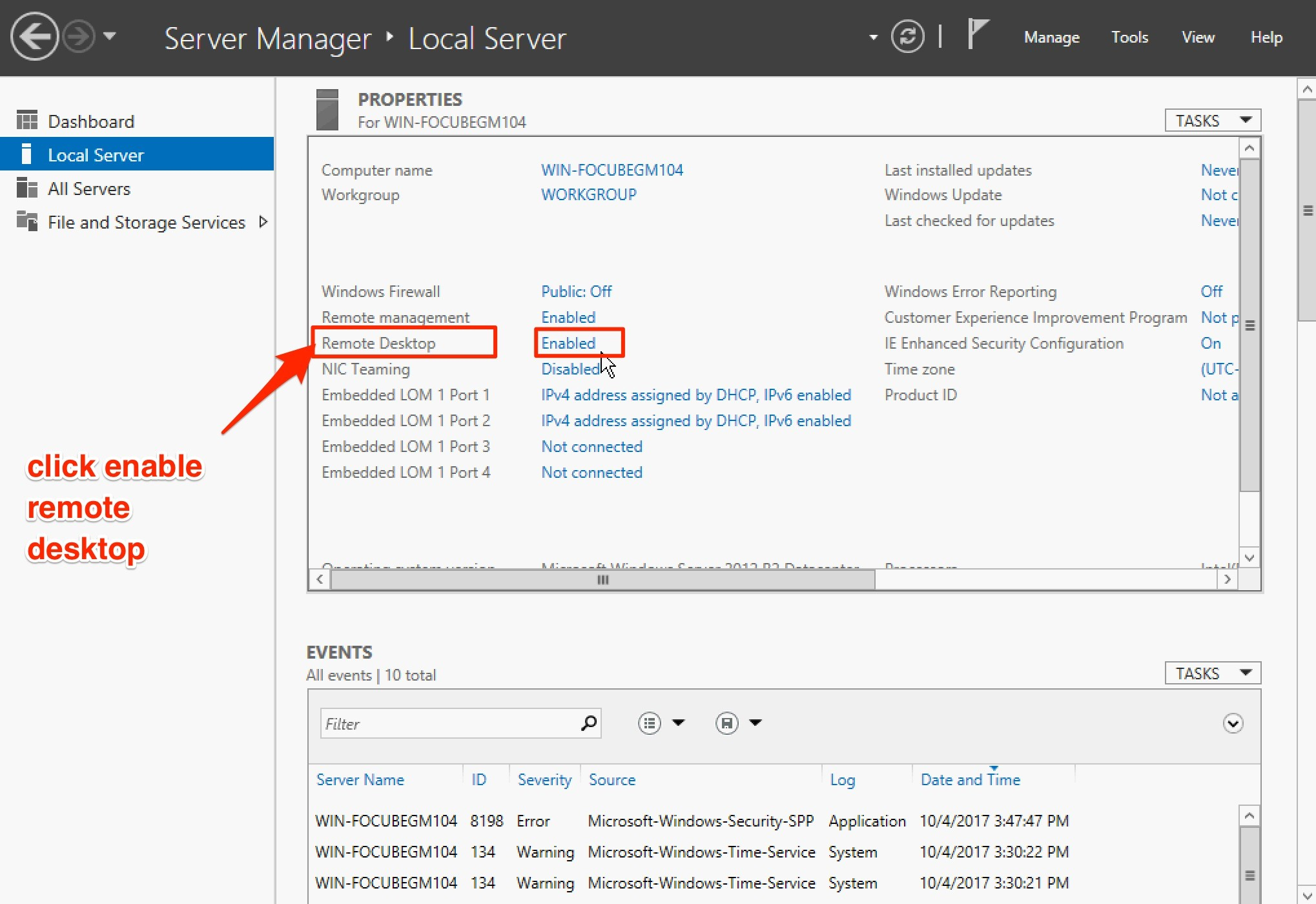 kích hoạt remote desktop windows server 2012 - local server