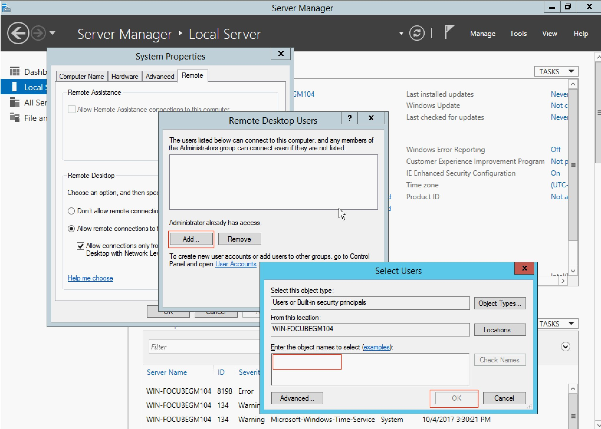 kích hoạt remote desktop trên windows server 2012 - allow remote connections