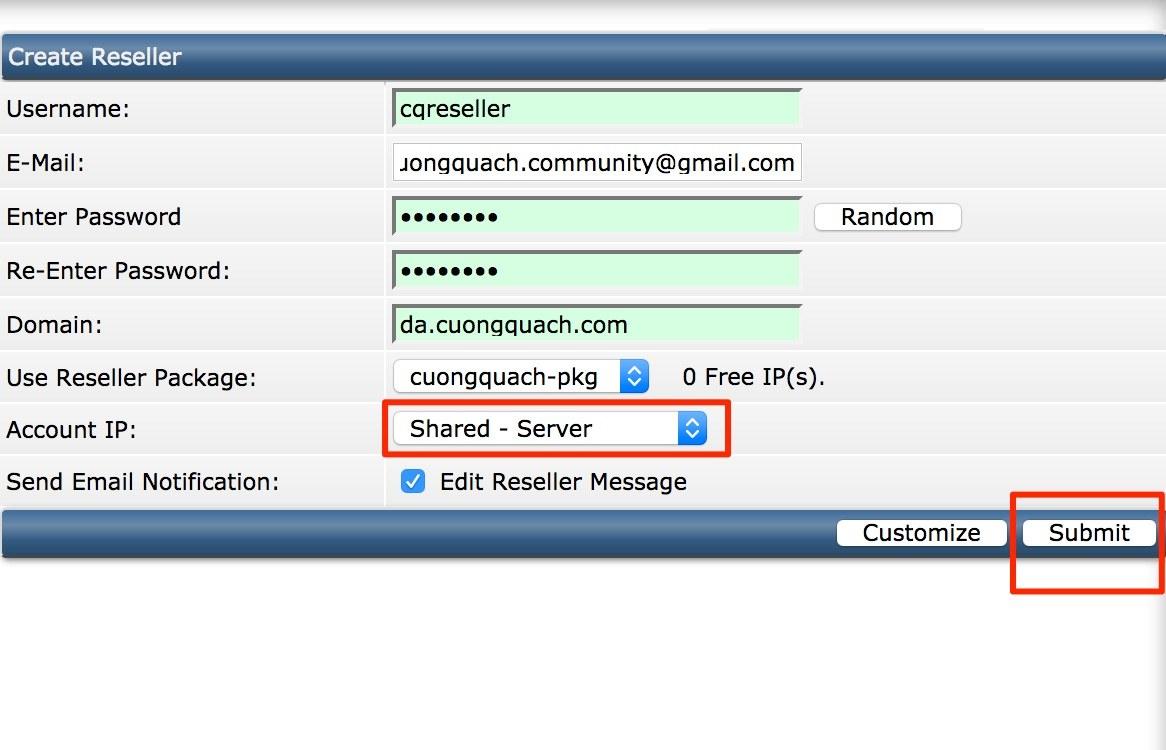tạo tài khoản reseller trên direct admin - 2