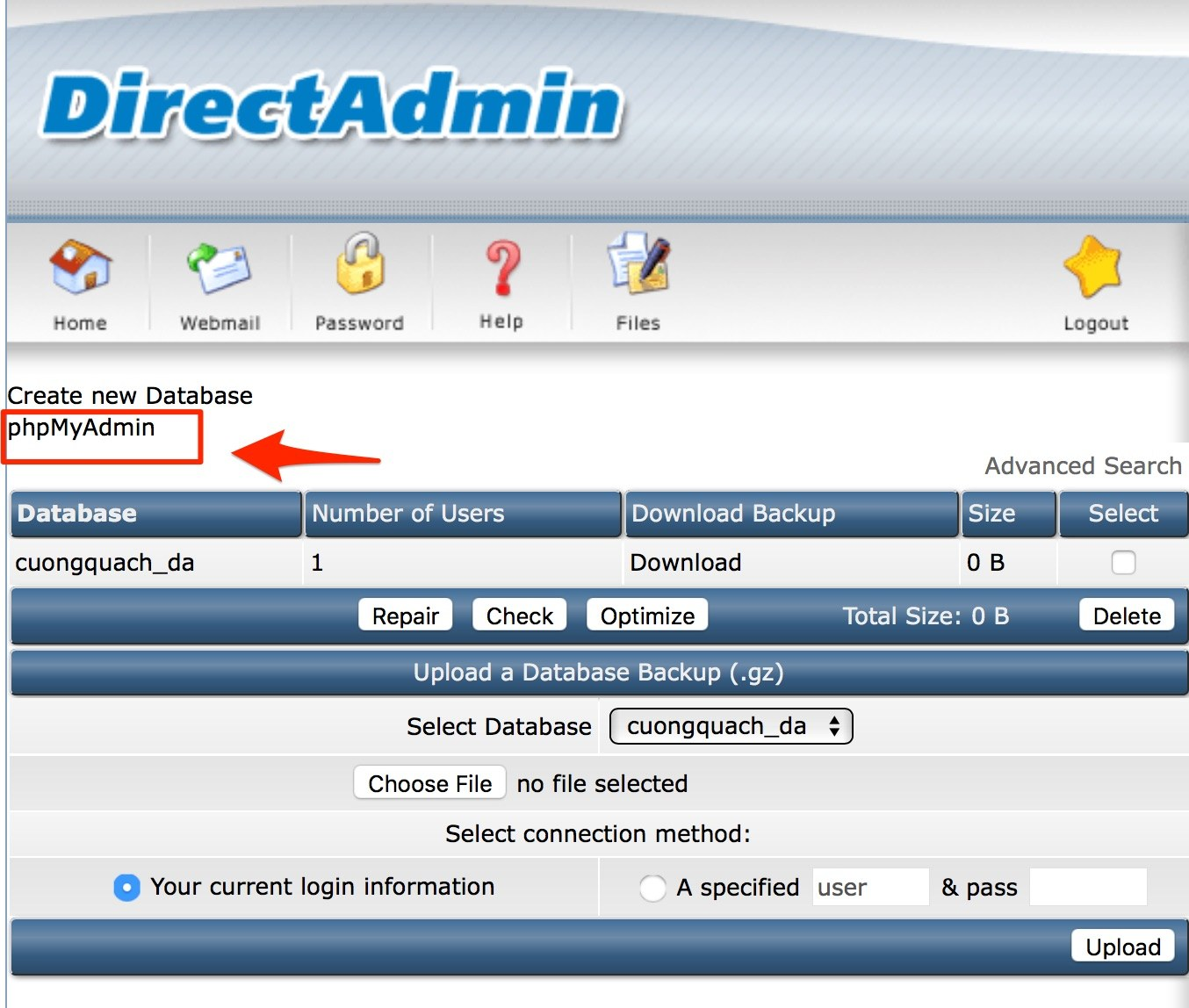 tạo database trên direct admin - 5