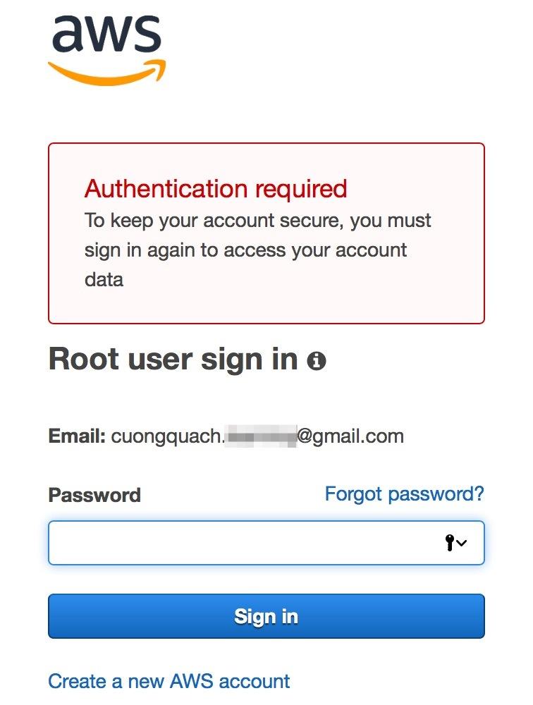 aws management console - thay đổi mật khẩu aws account 3