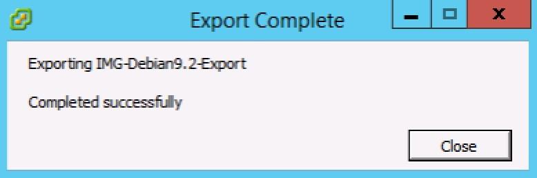 hoàn tất quá trình export vm