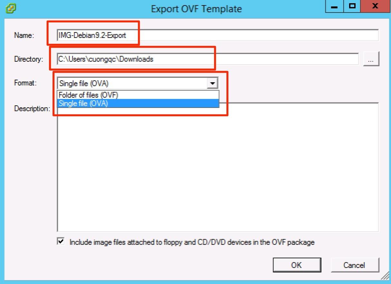 chọn export vm trên esxi