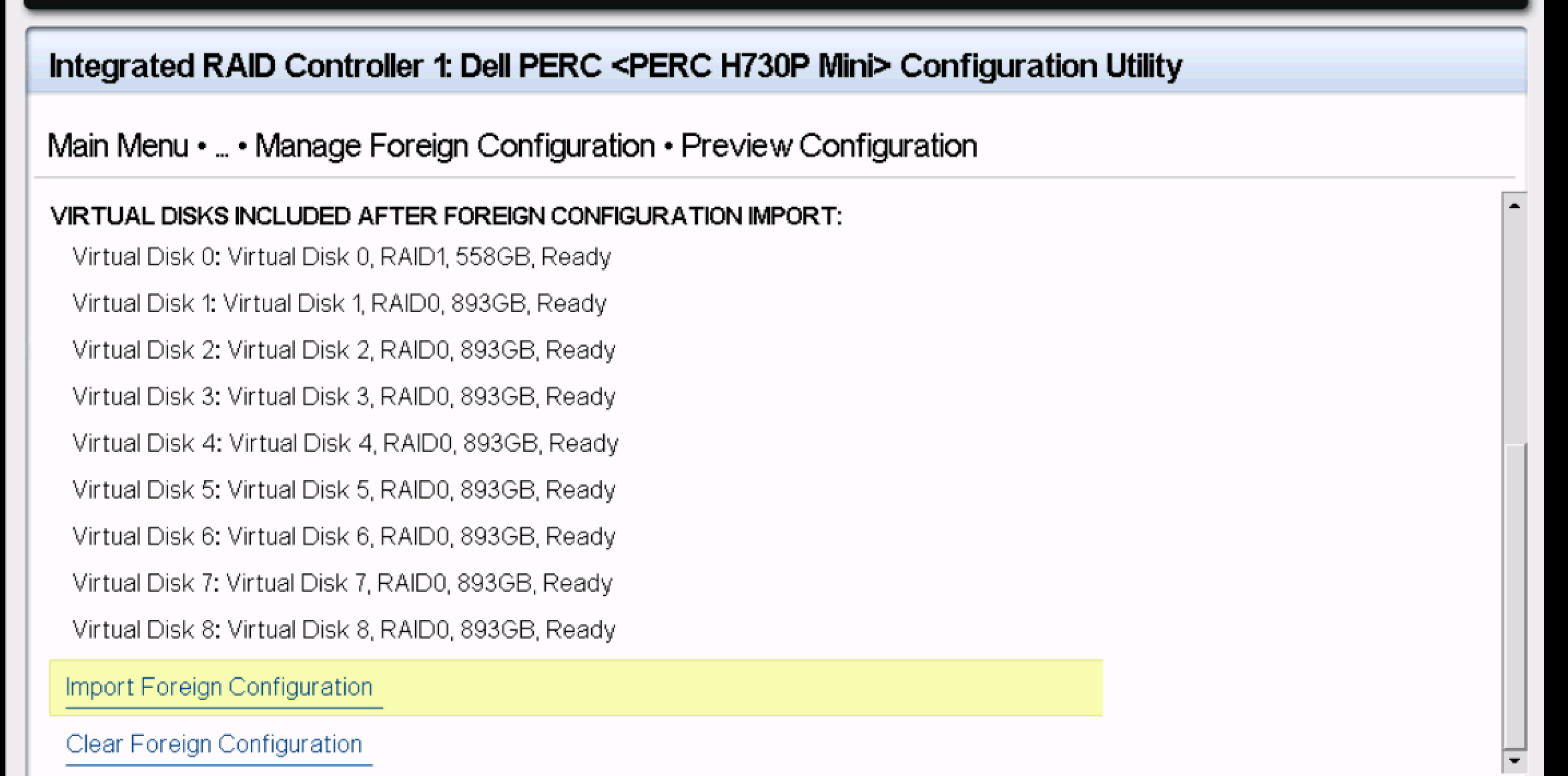import foreign config server dell disk