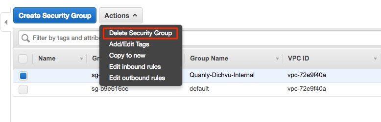 xoá security group 1