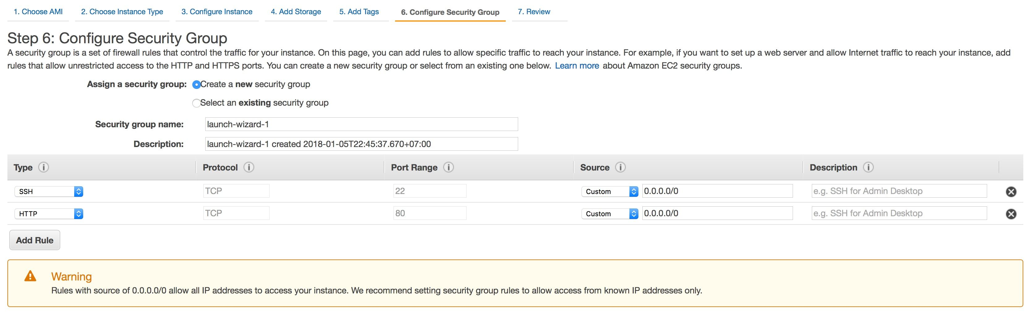 ec2 instance - cấu hình security group