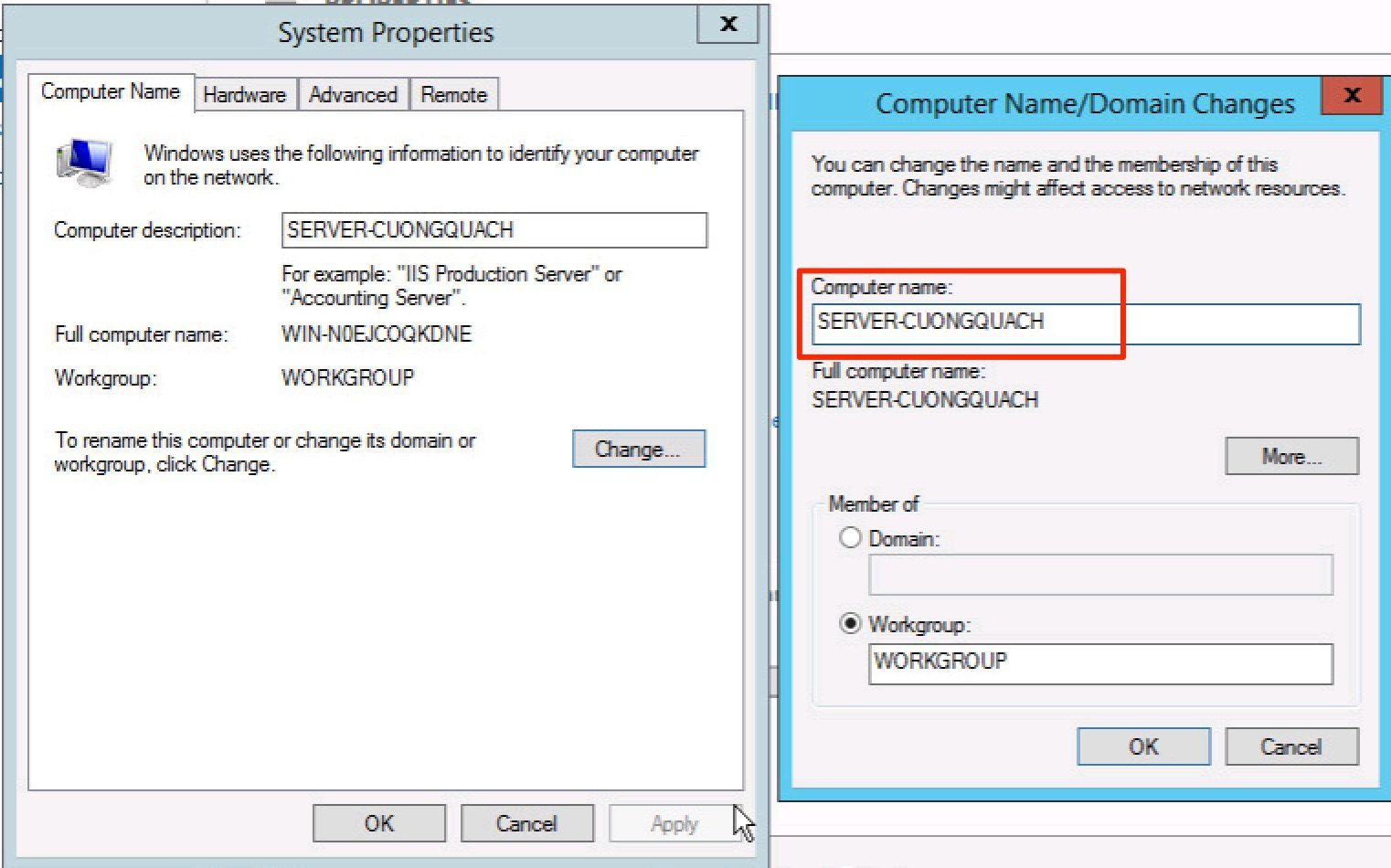 thay đổi computer name windows server 2012 - 5