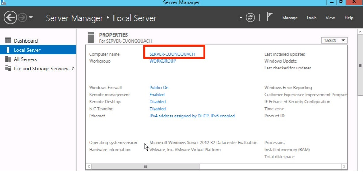 thay đổi computer name windows server 2012 - 7