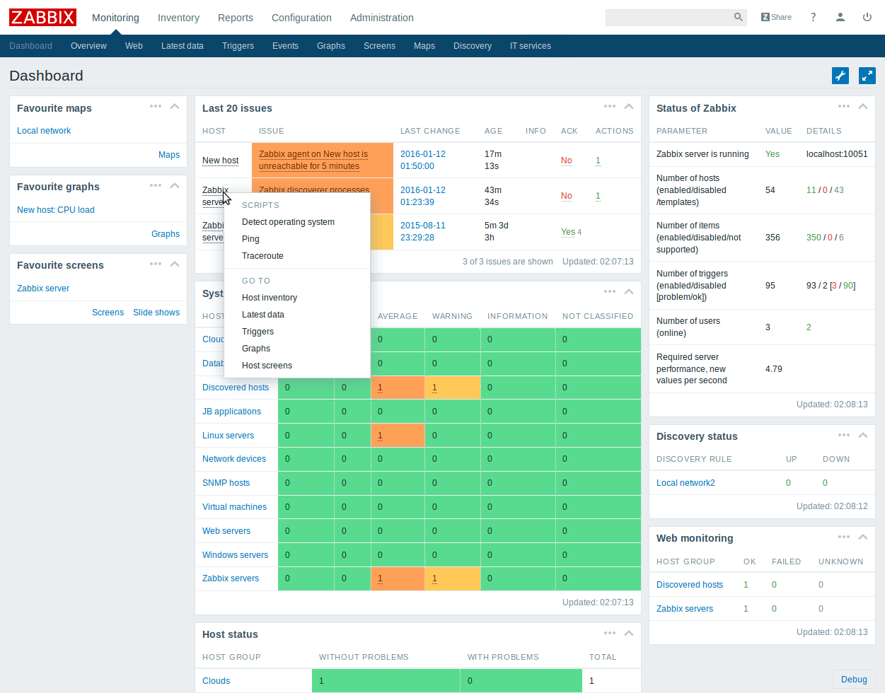 zabbix web interface