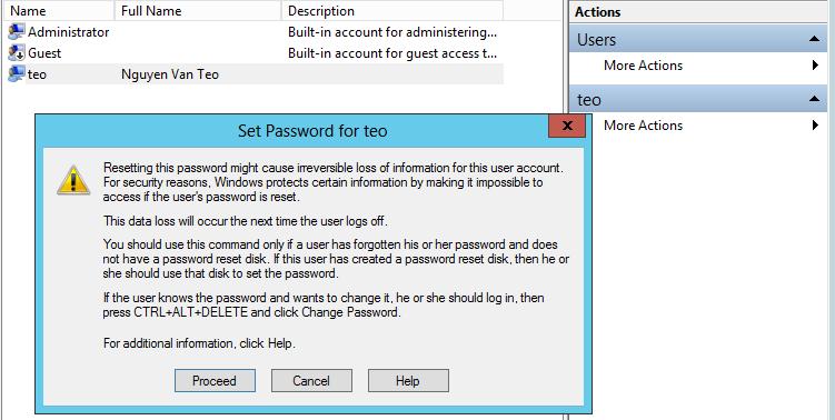 cảnh báo set mật khẩu mất dữ liệu