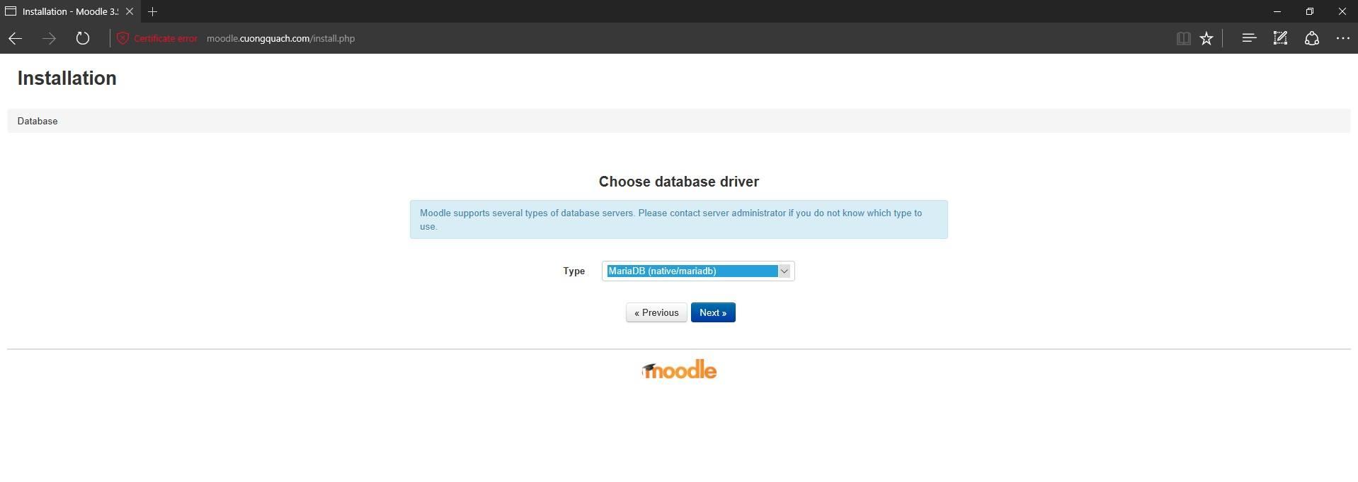 cấu hình cơ sở dữ liệu moodle