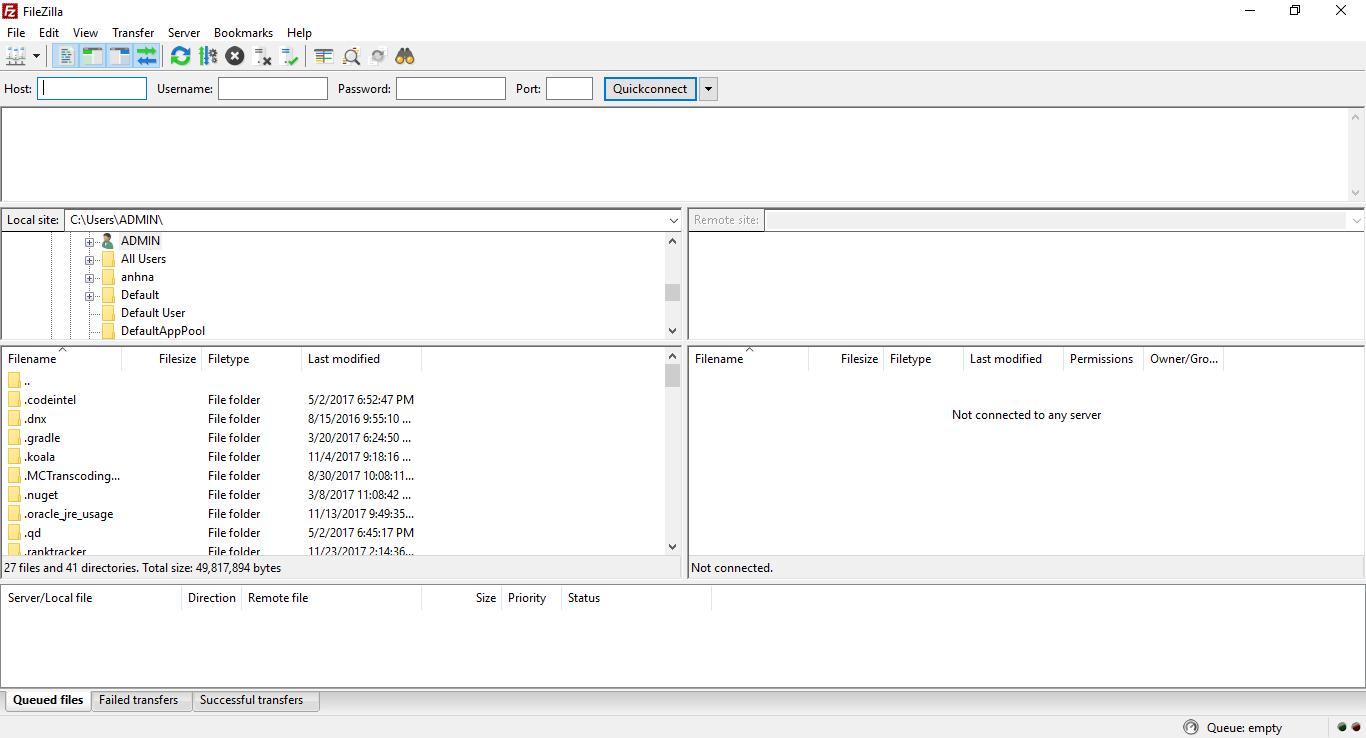 filezilla client giao diện 1