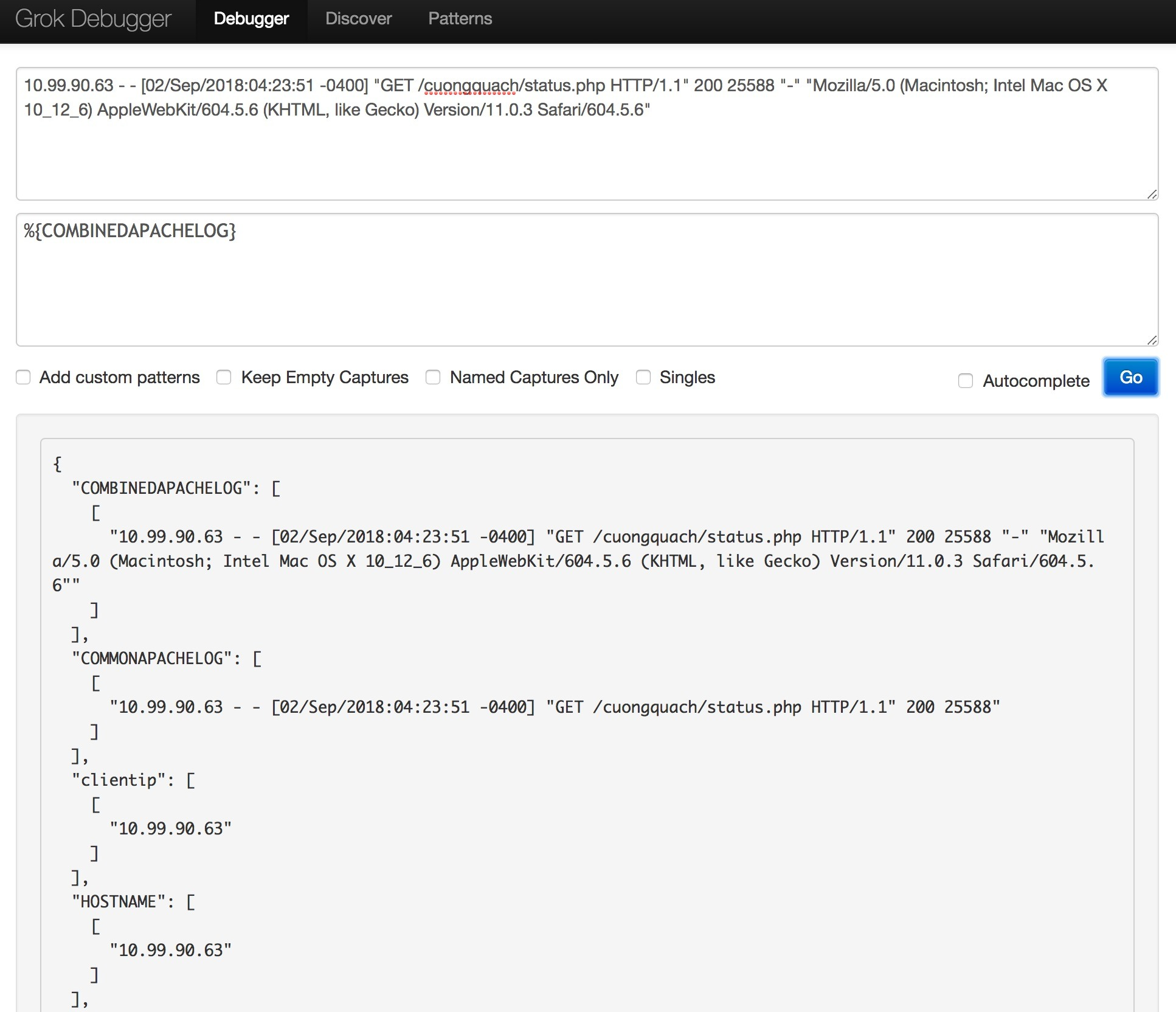 Kiểm tra cấu hình khuôn mẫu Logstash Grok bằng công cụ