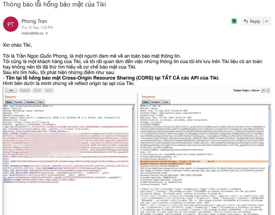 Phần đầu của nội dung email tôi đã gửi tiki