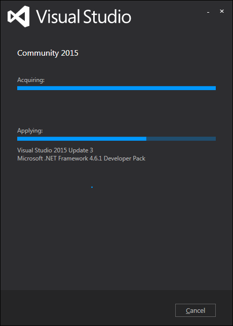 cài đặt visual studio 2015 - quá trình cài đặt chạy
