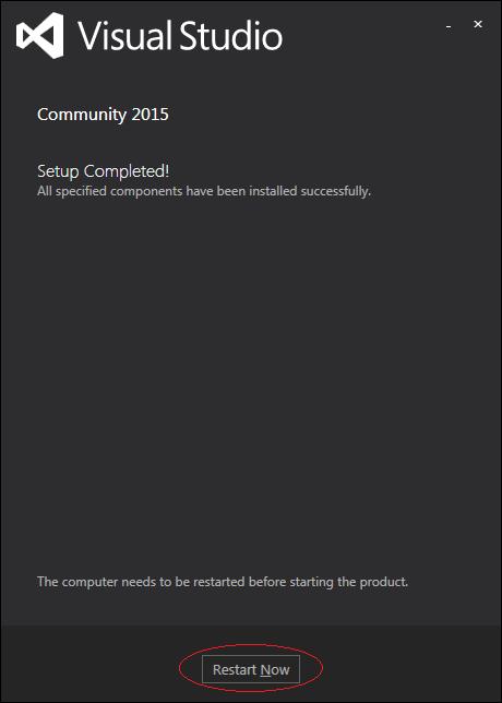 cài đặt visual studio 2015 - quá trình cài đặt hoàn tất