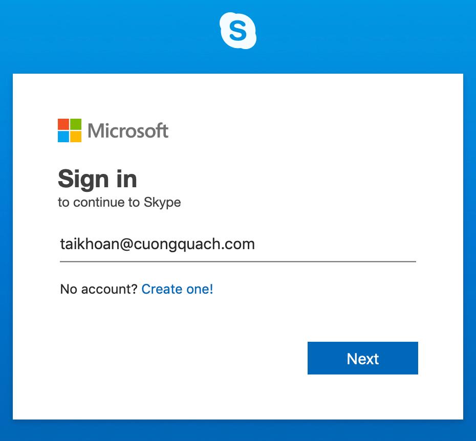 skype trên web - đăng nhập