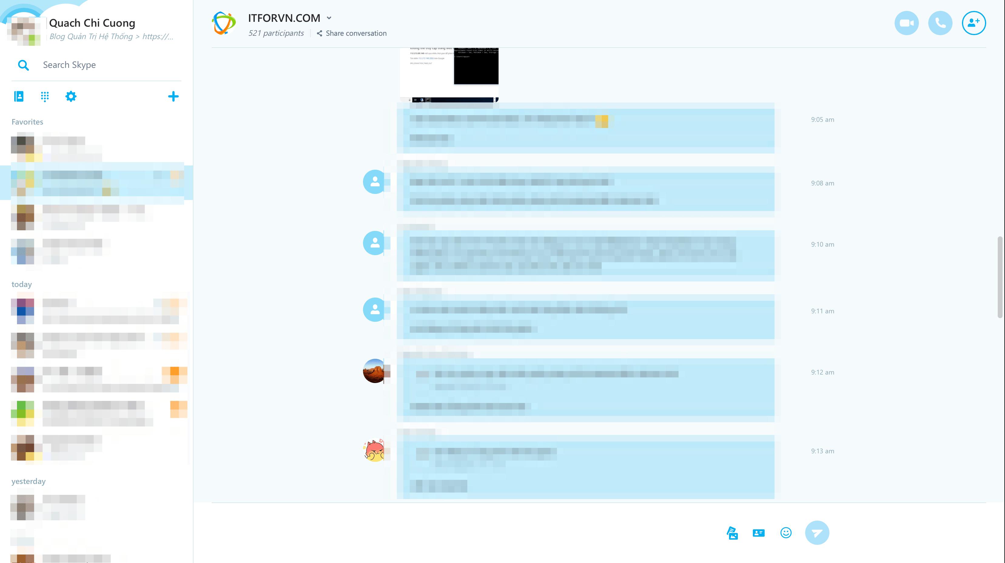 giao diện skype web