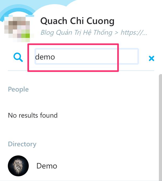 tìm kiếm trên skype web