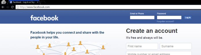 tên miền facebook giả