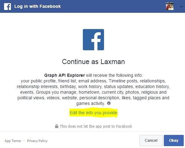 ứng dụng yêu cầu quyền facebook