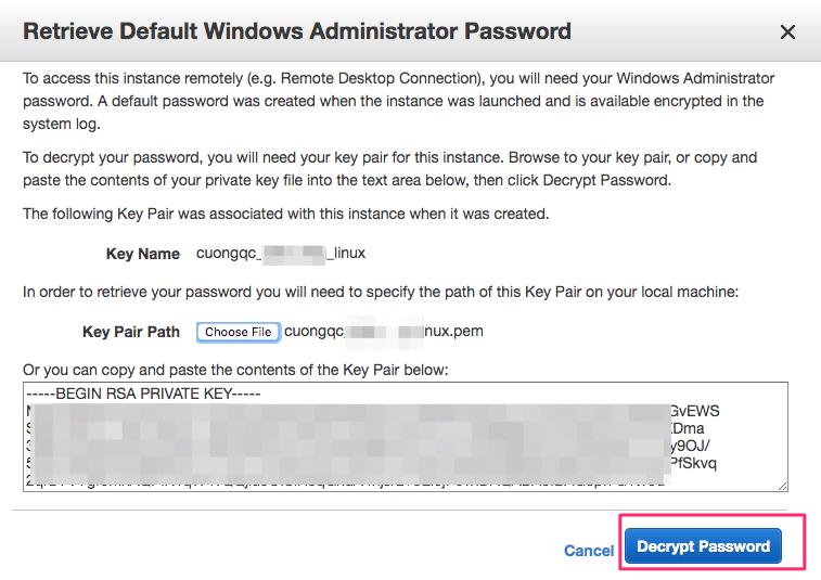 mật khẩu ec2 windows