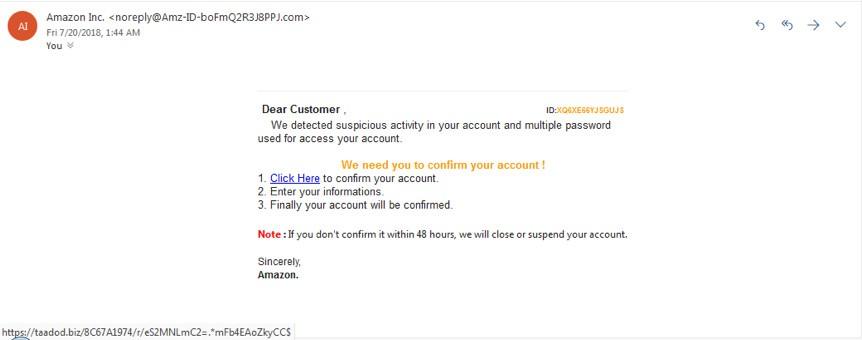 Ví dụ về phishing giả mạo Amazon