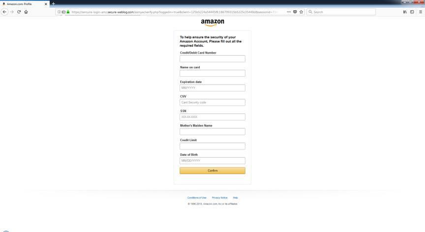 Ví dụ về phishing thu thập thông tin cá nhân