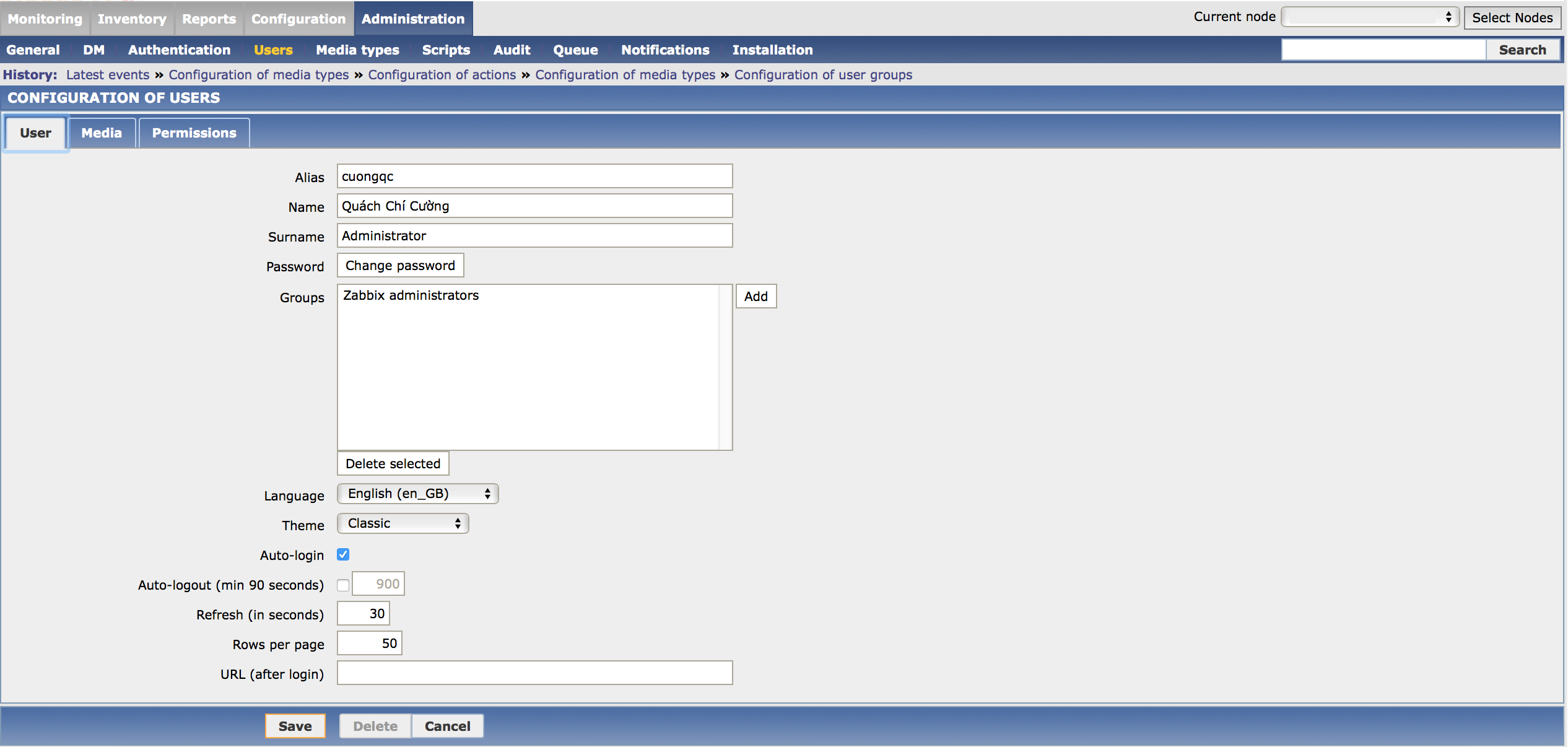 Zabbix User Configuration for send mail notification.