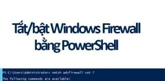 tắt bật windows firewall bằng powershell