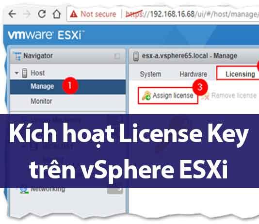 kích hoạt license key trên vsphere esxi