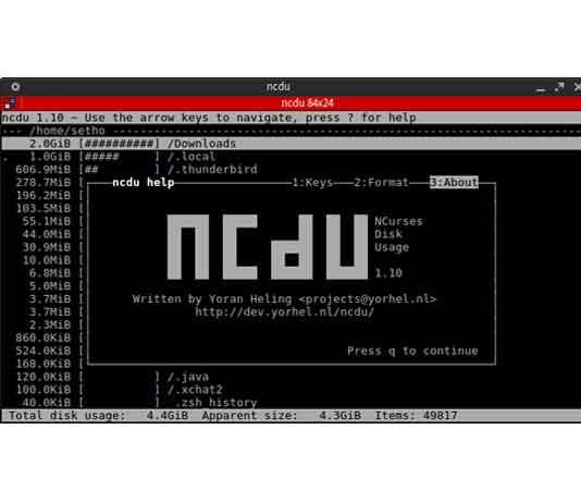 lệnh ncdu trên linux kiểm tra dung lượng ổ cứng