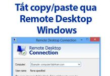 tắt copy paste remote desktop windows
